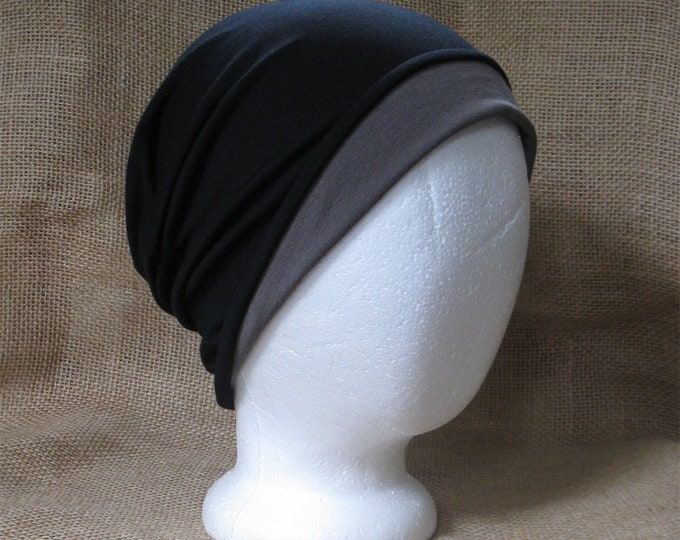 Reversible Bamboo Slouchy Beanie Hat for Men or Women - Java and Black Bamboo Chemo Headwear