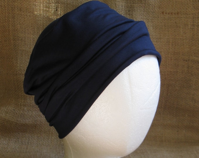 Chemo Hat Soft Navy Blue Bamboo - Womens or Mens Cancer Headwear Chemo Caps and Slouch Beanie