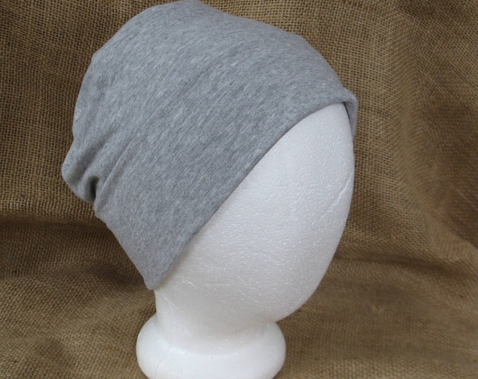 Chemo Hat Very Soft Heather Gray Bamboo - Womens or Mens Cancer Headwear Chemo Cap and Slouch Beanie