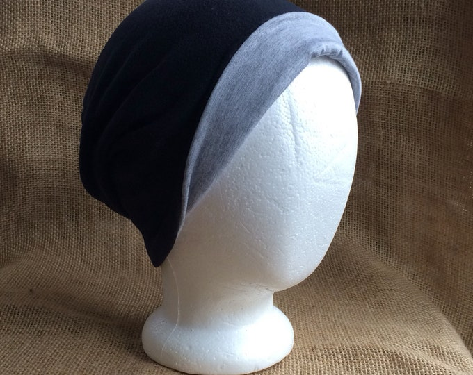 Reversible Bamboo Slouchy Beanie Hat for Men or Women - Black Micro Fleec and Heather Bamboo Chemo Headwear