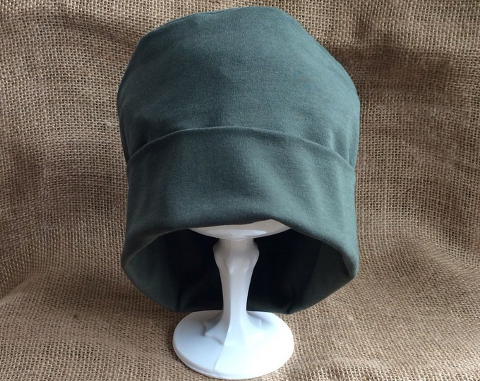 Army Green Organic Cotton and Bamboo Chemo Cap - Chemo Hat Cancer Headwear and Slouch Beanie