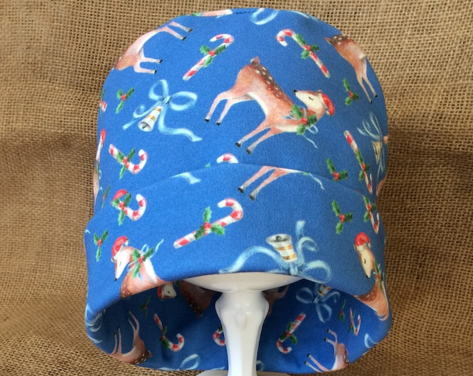 Christmas Chemo Cap or Beanie Slouch Headwear made with 100% soft organic cotton