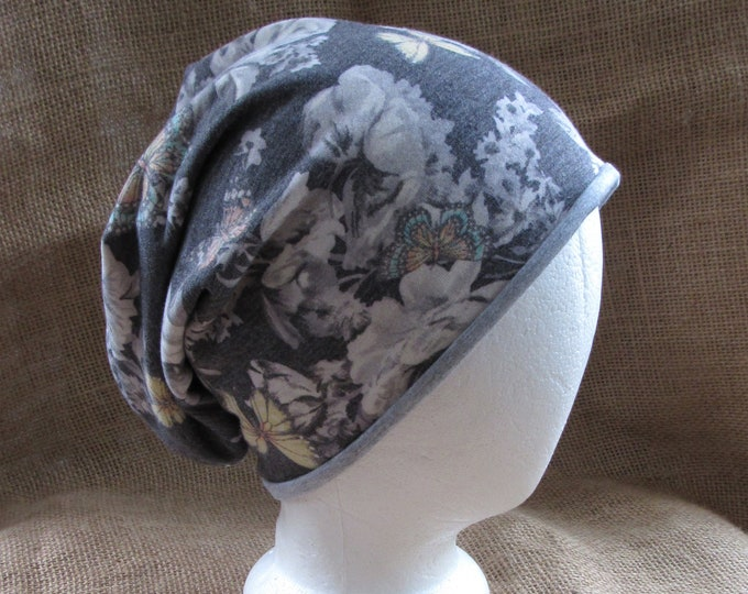 Reversible Slouch Beanie Hat for Women - Butterfly French Terry and Gray Bamboo Chemo Headwear