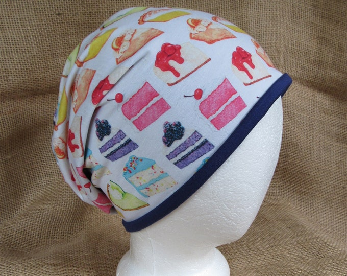 Cake and Cheesecake Hat Reversible Bamboo Slouchy Beanie Hat for Men or Women - Rainbow and Purple Bamboo Headwear