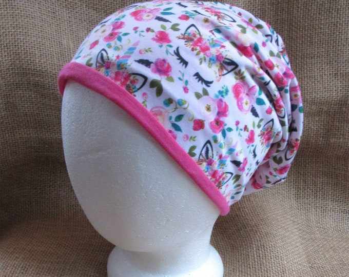 Unicorn Hat Reversible Bamboo Spring Slouchy Beanie Custom Made to Your Size for Girls or Women
