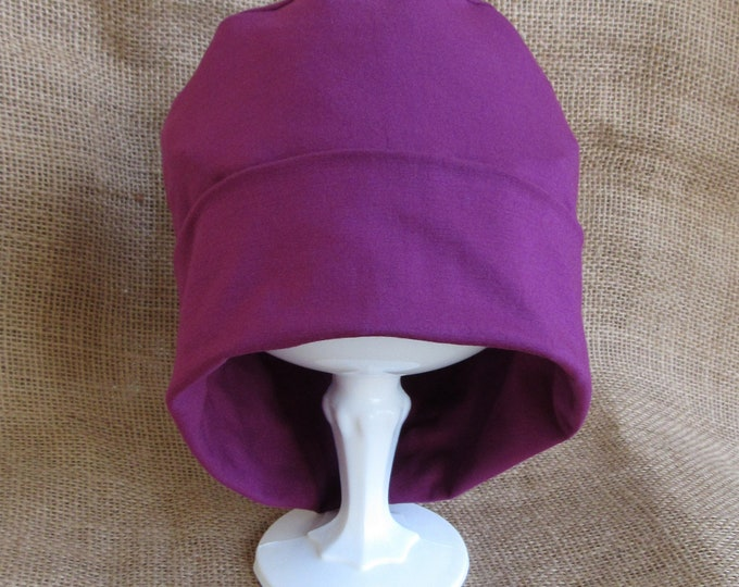 Chemo Hat Merlot Wine Berry Bamboo - Womens Cancer Headwear Chemo Cap and Slouch Beanie