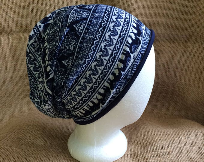 Reversible Slouchy Beanie Hat with Bohemian Elephant Pattern and Solid Navy Bamboo for Men or Women