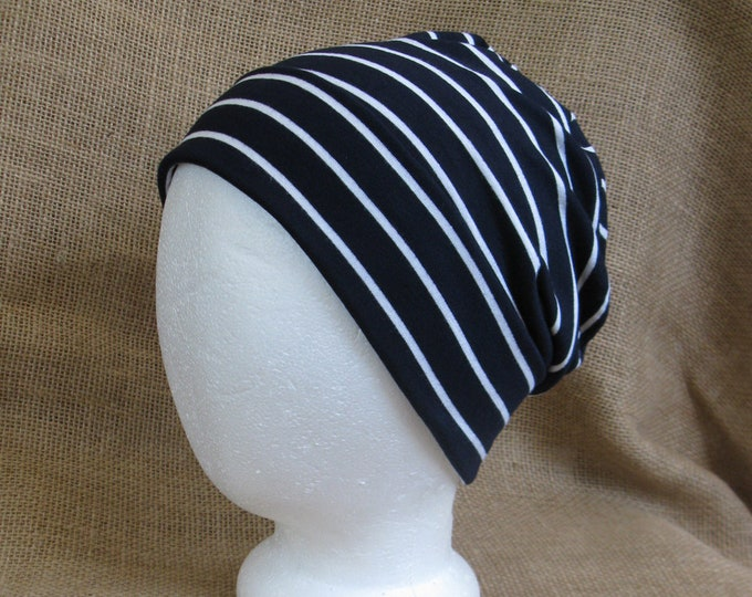 Chemo Hat Headgear Soft Navy and White Stripe Bamboo Slouch Chemo Cap Beanie