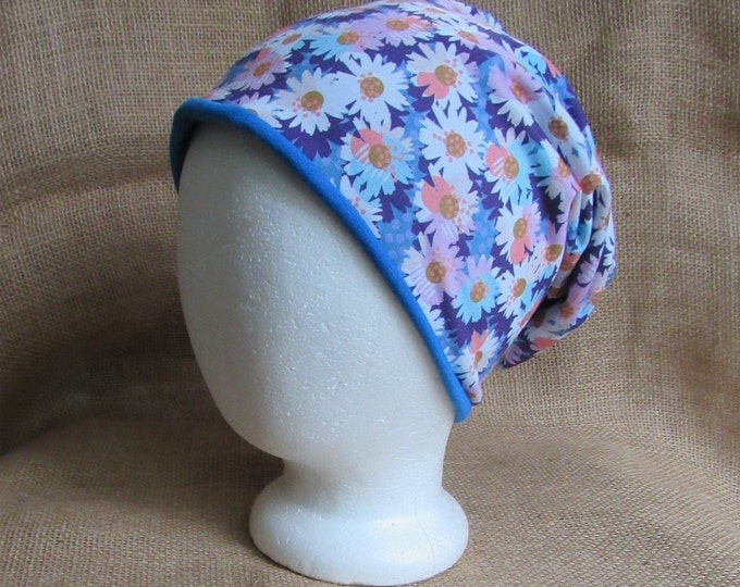 Reversible Daisy Slouchy Beanie Hat for Women - Daisy Flower and Blue Bamboo Chemo Headwear