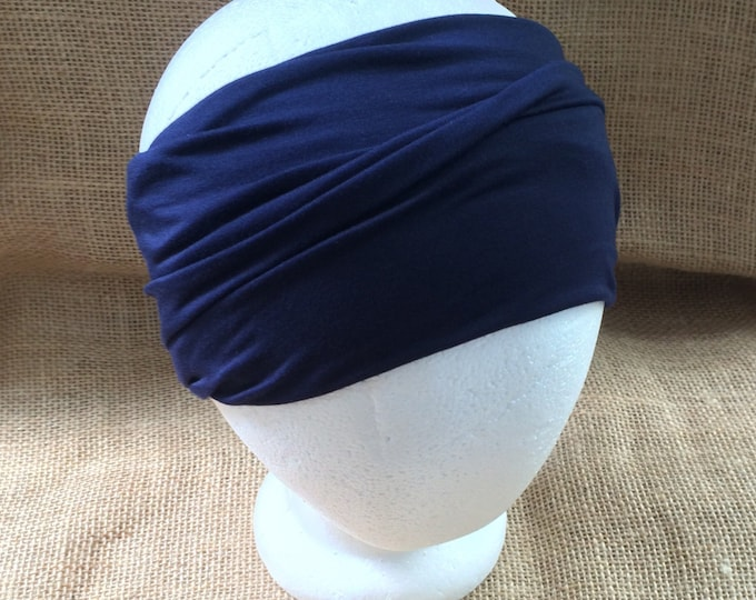Headband Non Slip Navy Bamboo Yoga Headband Fitness Headband Short Hair Headgear