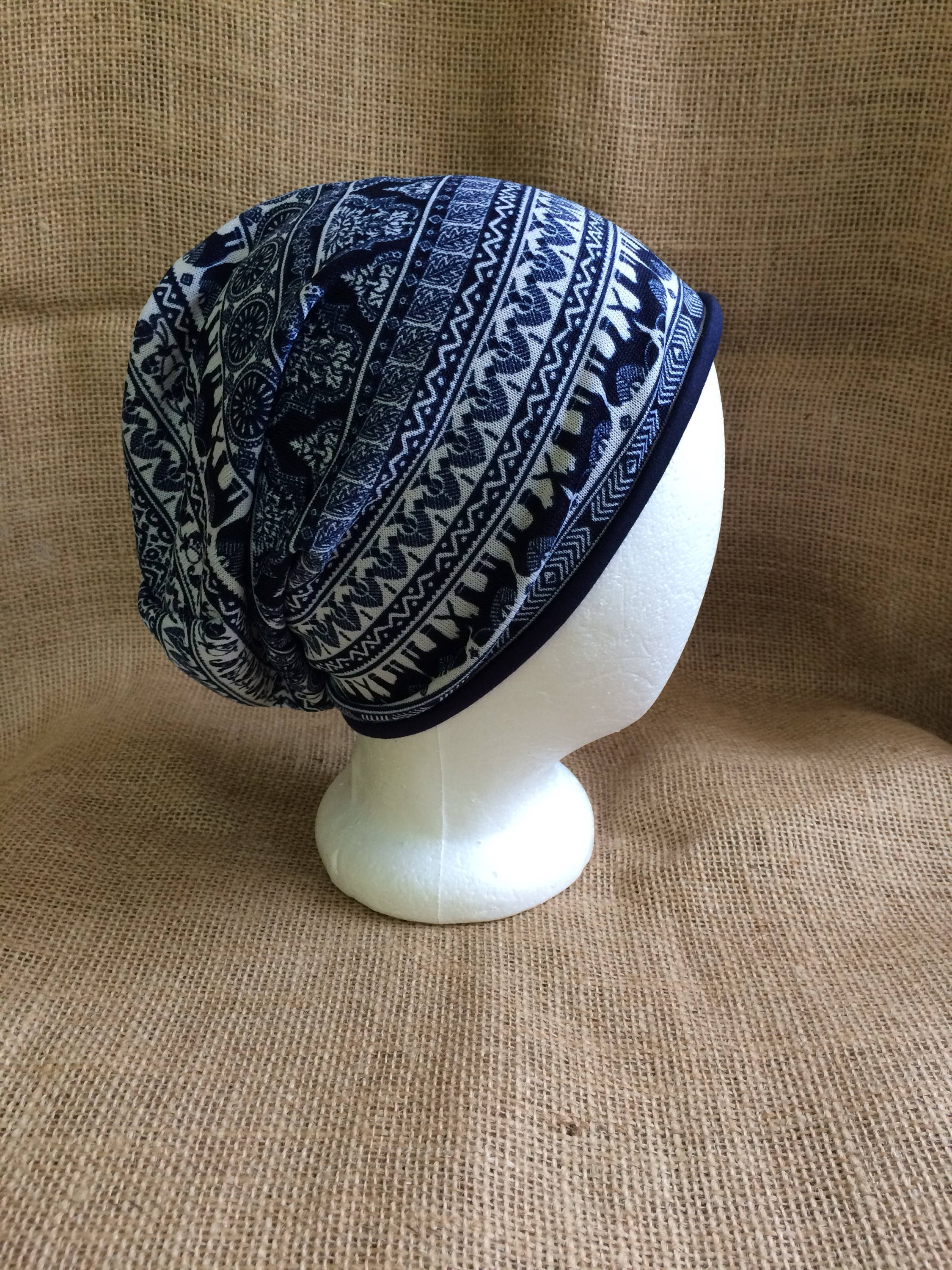 Reversible Slouchy Beanie Hat with Bohemian Elephant Pattern and ...