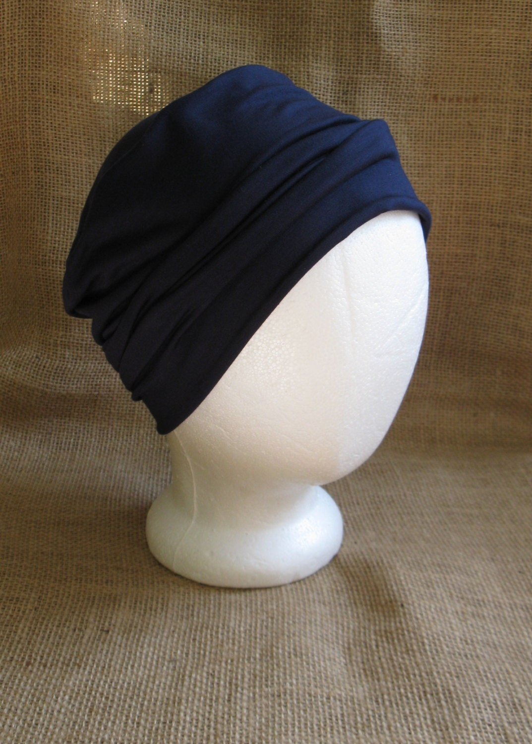 Chemo Hat Soft Navy Blue Bamboo - Womens or Mens Cancer Headwear Chemo Caps  and Slouch Beanie 83f460321e5