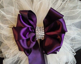 Tulle pew bows etsy wedding pew bows any color satin and tulle bows with streamers and bling wedding decorations junglespirit Image collections