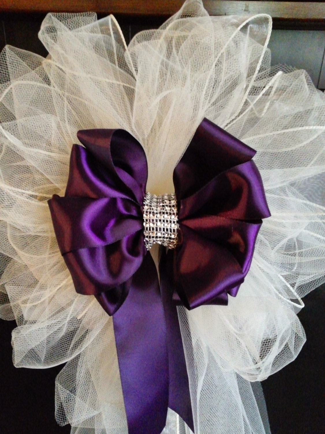 Wedding Pew Bows Any Color Satin And Tulle Bows With