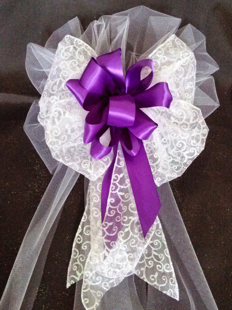 Wedding Pew Bows Purple Satin And Tule Bows With Streamers Wedding Decorations Church Pew Bows Hand Made To Order Dark Purple Plum