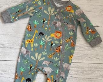 Safari jungle unisex Sleepsuit babygrow lions