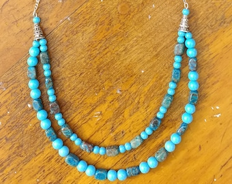 Turquoise-blue Beaded Necklace