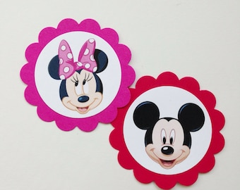 MICKEY & MINNIE MOUSE Gift Tags Cupcake Toppers (12ct)