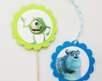 MONSTER INC Gift Tags & Cupcake Toppers (12ct)