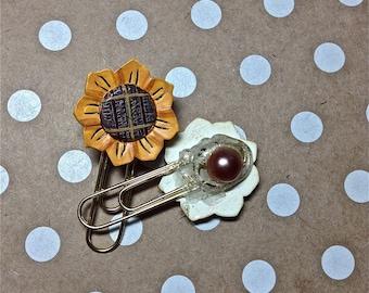 Paper Clip Embellishment, Planner Clips, Sunflowers