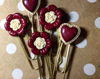 Planner Paper Clips, Hearts, Flowers, Valentine Theme