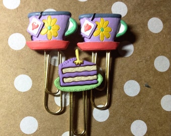 Planner Accessories, Paper Clips, Tea Party