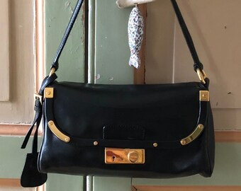 d6b1c471c543 Authentic Prada Calf Leather Shoulder Bag with Gold Hardware Lock & Key  Made in Italy with Authenticity Card