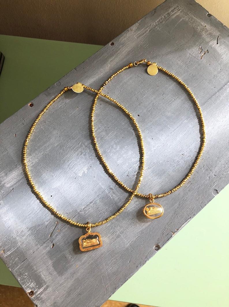 Buddha Charm Necklace Gold Laotian Lying Buddha Pendant Gold Plated Hematite Necklaces Gold Hematite Necklace Religious Necklace