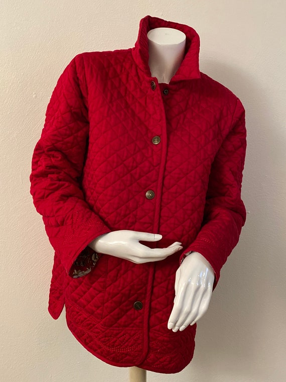 Reversible red quilted jacket