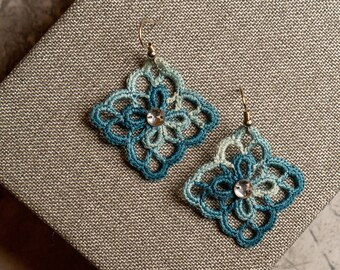 Butterfly Soutache Earrings With Ornamental Cabochons In Emerald Rose Colour