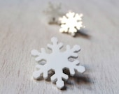 Snow flake pin brooch Christmas gift winter gift accessory minimal white brooch