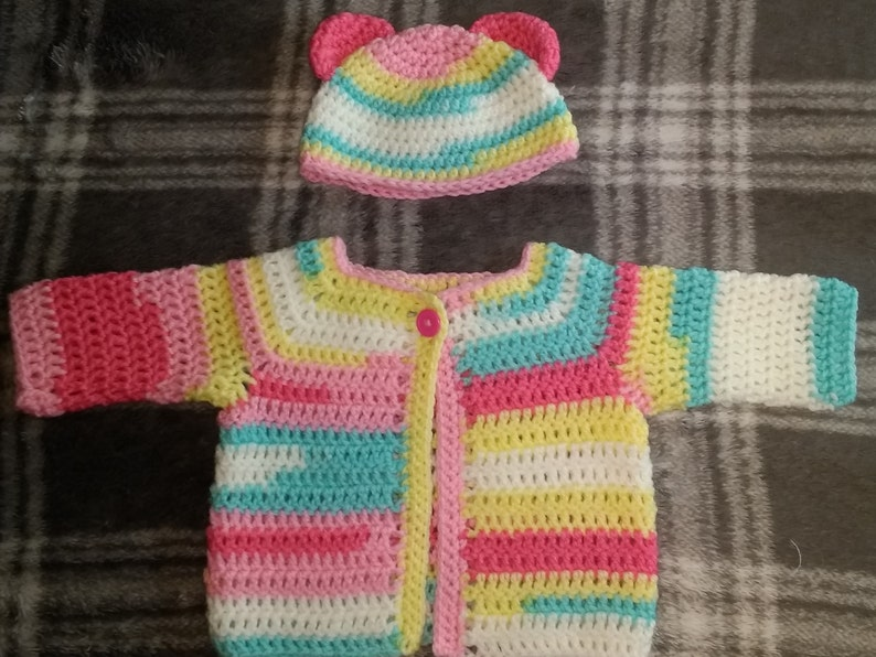 Baby Cardigan and Bear Ear Hat