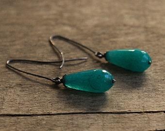 Agate Silver Earrings, Rustic Earrings, Dangle Earrings, Dark Silver Earrings, Oxidized Silver Blue Green Agate Eearrings Christmas Gift