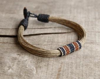 0e1bac9a1e5b Nautical mens bracelet natural linen braclet men gift for