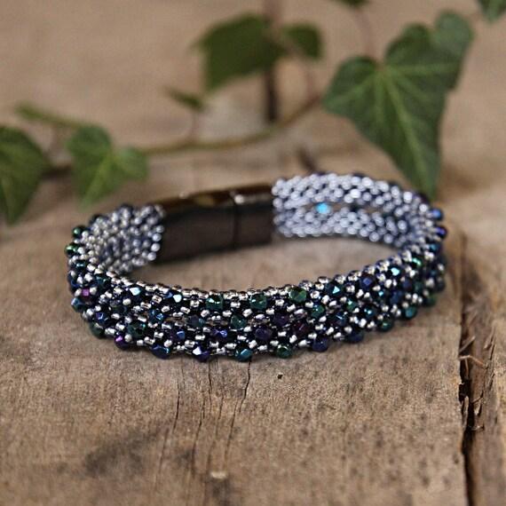 elegantes armband marine armband perlenarbeiten verlobten etsy. Black Bedroom Furniture Sets. Home Design Ideas