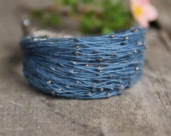 Starry night linen bracelet, beaded bracelet in blue and gold, dainty bracelet, summer jewellery, 2015 trends
