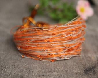 Dainty bracelet, orange bracelet, summer jewelry, beaded bracelet in orange and beige, linen bracelet, summer trends, gift for wife