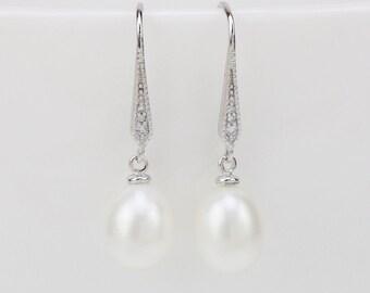 1d92e751b Pearl earrings,8mm teardrop pearl dangle earring wedding,natural pearl  earring,pearl bridal earrings jewelry,mom birthday anniversary gifts