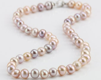 0399d3a9f 8mm natural multi color freshwater potato near round pearl necklace,mixed  color natural pearl necklace,knotted pearl necklace, silver clasp