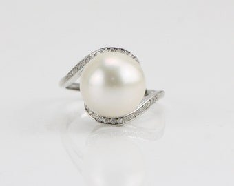 ring size 6.25 us genuine cultured freshwater pearl ring with yellow gold plated accent 925 sterling silver ring with freshwater pearl enchanting 12 mm round pearl, ring freshwater pearl