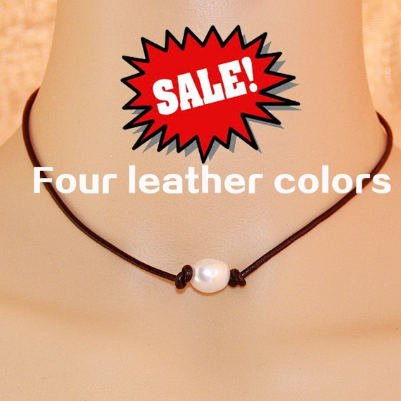 Pearl and leather necklace,brown leather necklace,single pearl leather necklace,11mm big freshwater rice pearl necklace,pearl leather choker