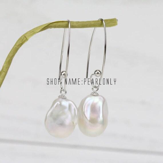 Grandes pendientes de perlas barrocas flameball jumbo grande | Etsy