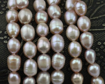 6-7mm naural purple lavender rice freshwater pearl strand,drop pearl bead strands,oval pearl strings wholesale supply from China PS005