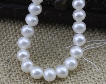 6mm AAA near round potato shape white freshwater pearl strand,loose pearl beads,round pearl string,pearl necklace DIY jewelry material