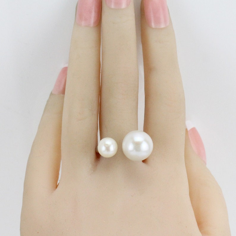 7-8mm and 12-13mm cream white double pearl ring,sterling silver open ring,freshwater pearl midi ring,small and big pearl two pearls ring