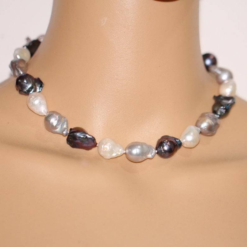 Collana di perle barocche grande 12-14mm la palla jumbo nero  1328e2167e20