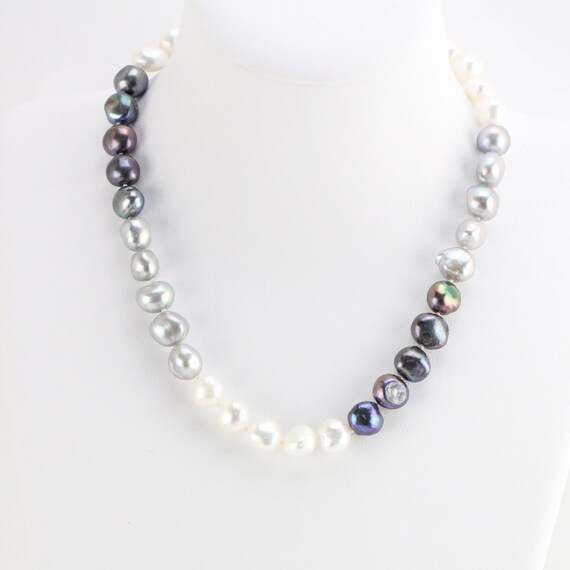 Long White Freshwater Cultured Nugget Off Round Pearl bead Lariat Necklace Wrap