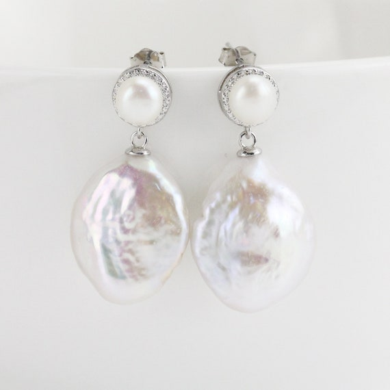 "Fashion Elegant 13/"" 8-9 mm Silver Gray Freshwater Baroque Pearl Loose Beads"