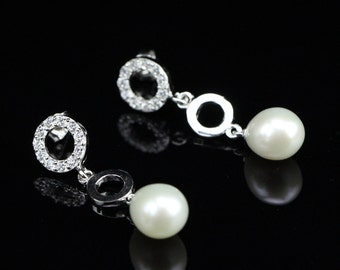 Pearl earrings,bridesmaid pearl earrings,bridal pearl earrings,ivory pearl crystal earrings,rhinestone wedding earrings,drop pearl earrings