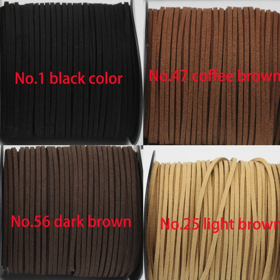 Brown Flat Leather Cord 3mm Wide 2mm Thick Jewellery Making 3m 5m String Lace UK